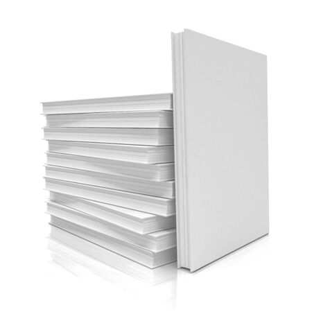 3d render of a pile of books with a blank cover on white background - isolated
