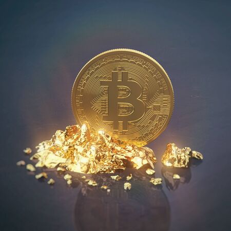 3d render of golden bitcoin standing on stones on dark background. Physical bit coin - Digital currency - Cryptocurrency