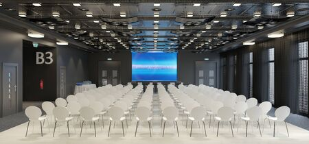 3d render of a large conference room with many chairs