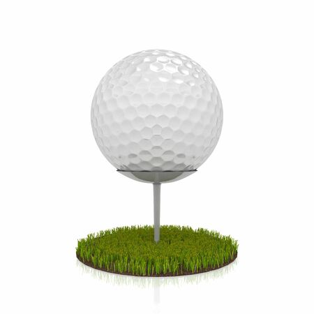 3d render of a golf ball over white background