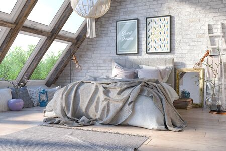 3d render of a Scandinavian, Nordic bedroom with a large bed - interior concept.