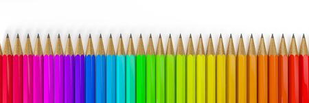 3d render of many colorful pencils over white background