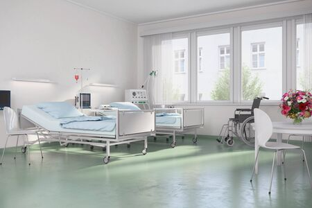 3d render - Empty hospital room with beds in a clinic