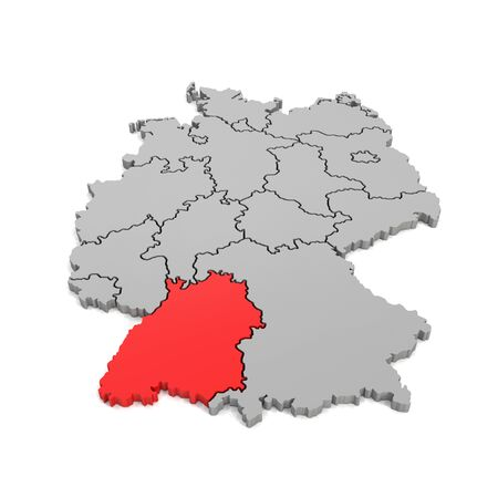 3d render - german map in gray with regional boarders and the focus to Baden-Wuerttemberg in red - federal states