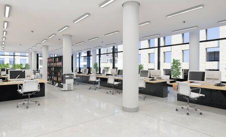 3d render - open plan office - office building - modern architecture.