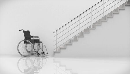 3d render - wheel chair in front of stairs Banque d'images - 143493783