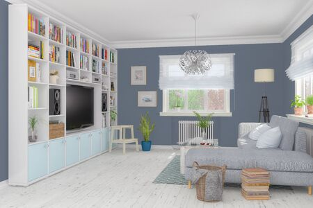 3d render of a Scandinavian, Nordic apartment - living room