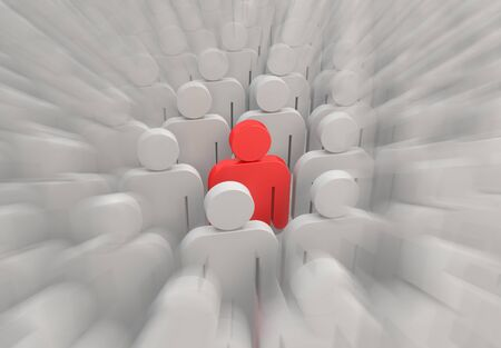 A red person in a crowd of people Stockfoto