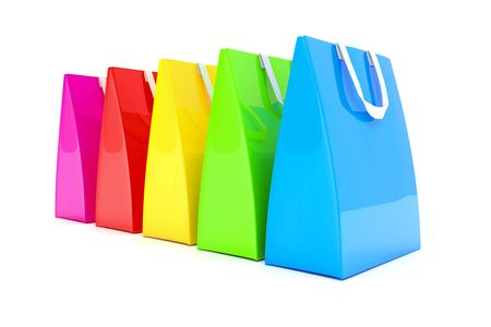 3d render - Five colorful shopping bags over white background.