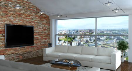 Interior of living room with brick wall