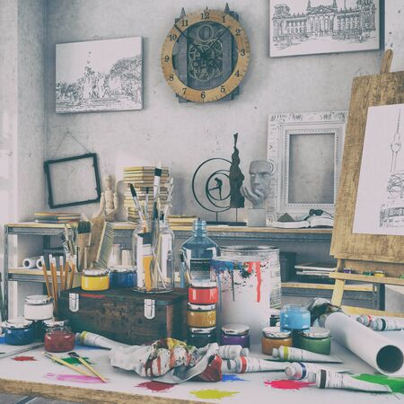 3d render - artistic furnishing in the studio with a table full of colours and brushes, in the background paintings, shelves and a wooden easel  - retro look