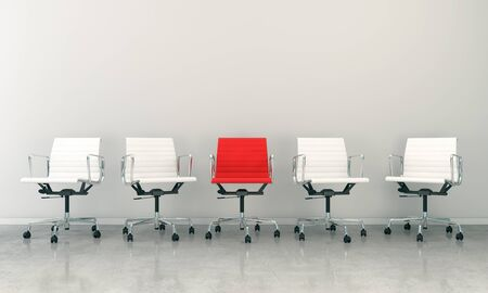 3d render of business lounge with five chairs Banque d'images