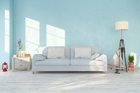 3d render - interior of scandinavian living room with sofa, maritime decoration - retro look Banque d'images