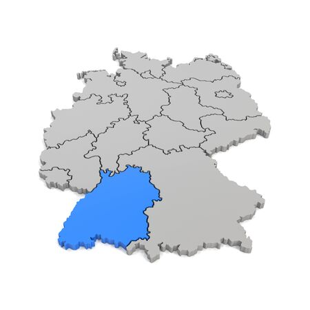 3d render - german map in gray with regional boarders and the focus to Baden-Wuerttemberg in blue - federal states