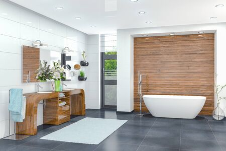 3d render of a modern bathroom in white with a freestanding bathtub, two washbasins and a large mirror.