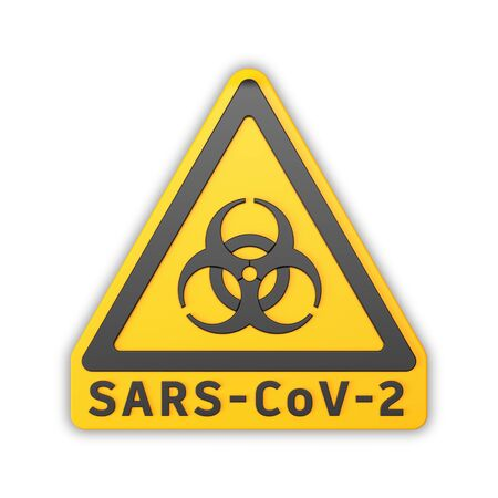 3d render of a yellow biohazard warning sign and the message SARS-CoV-2 over white background