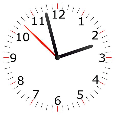 Illustration of a clock on white background.