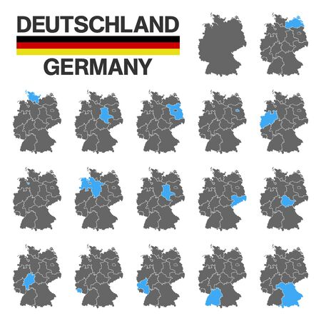 german map with regional boarders - federal states - high details - black - blue
