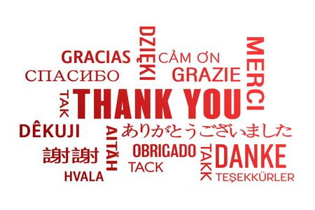 word cloud - thank you in different languages - red