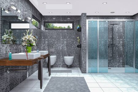 3d render of a modern bathroom in white and black with shower, bathtub, toilet, bidet and two washbasins with a large mirror. Banque d'images
