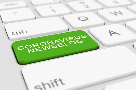 3d render of a keyboard with a green key and the message coronavirus newsblog