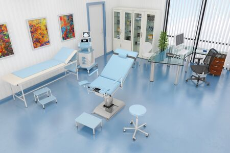 3d render of a gynaecological treatment room with a gynaecological chair
