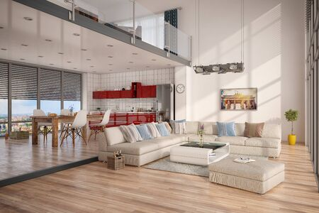 3d render of modern loft with living room , lounge, kitchen.