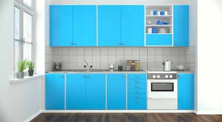 3d rendering of a modern kitchen kitchen in blue.