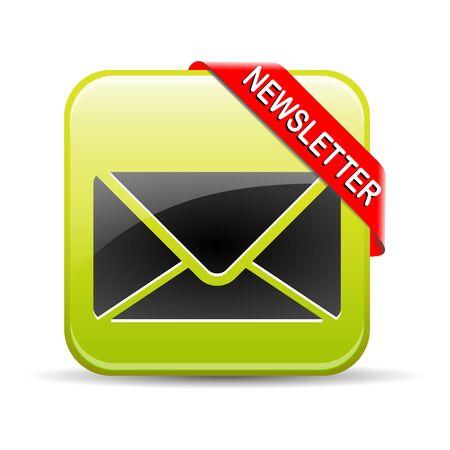 Illustration of newsletter button on white background. 版權商用圖片