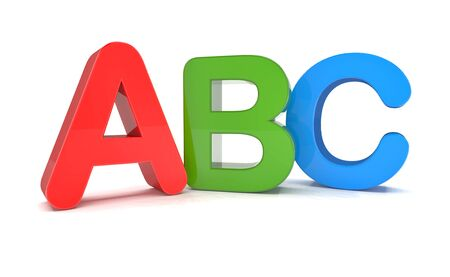 Colorful abc letters over white background with reflection - 3d rendering.