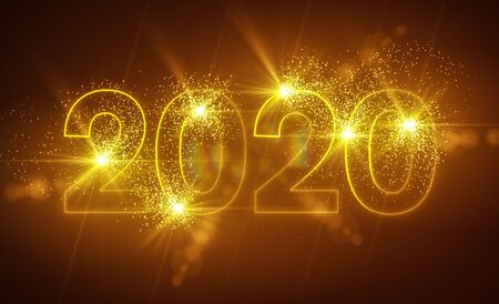 abstract neon light in gold with the numbers 2020 - represents the new year - holiday concept