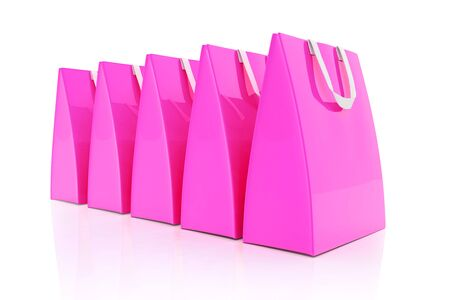 3d render - Five pink shopping bags over white background. Stock Photo