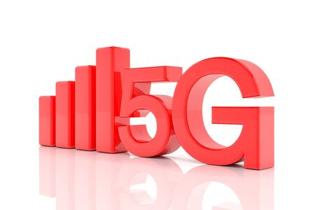 3d rendering of the fast 5G mobile network in red letters on white background