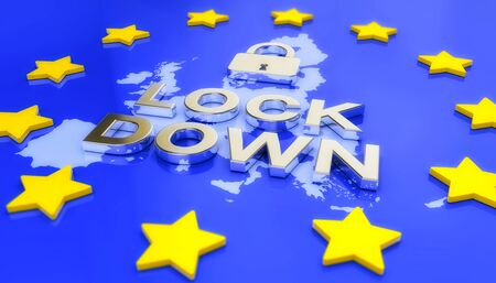 3d render of a map of Europe in blue with yellow stars, on it a padlock and the message lockdown in metallic silver - coronavirus crisis