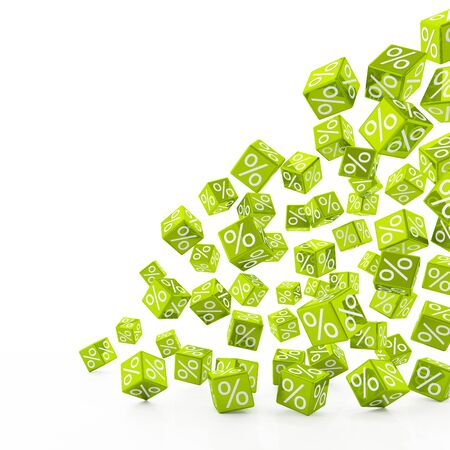 3d rendering of falling green cubes with percent signs on white background (sale concept)