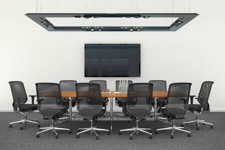3d render - meeting room with big table and office chairs.