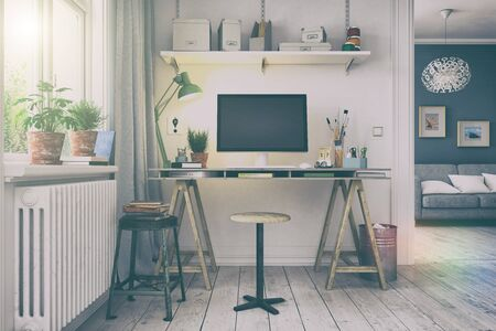 3d render of a scandinavian nordic home office with a desk - retro look