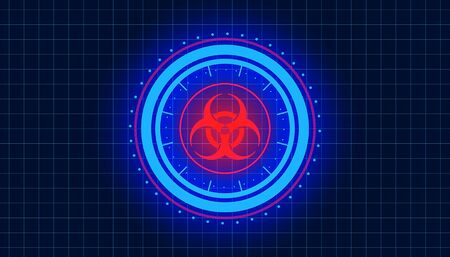 Illustation of a technological, futuristic HUD in blue and red with the biohazard symbol - lockdown - screen Imagens