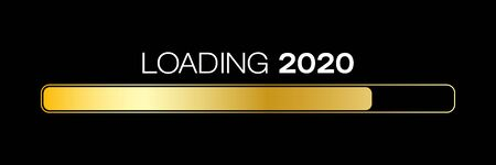 loading bar in gold with the message loading 2020 over dark background- new year concept - represents the new year 2020