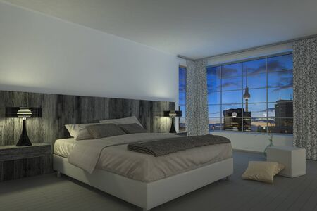 3D rendering of modern bedroom with bed, pillows, floor, carpet, lamps, big window and curtains. Foto de archivo