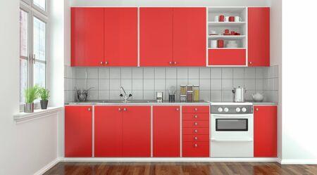 3d rendering of a modern kitchen kitchen in red.