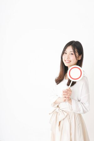 Young woman showing the circle sign Stock Photo