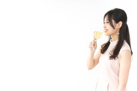 woman at party with wine