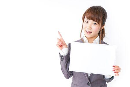Business woman having a white board