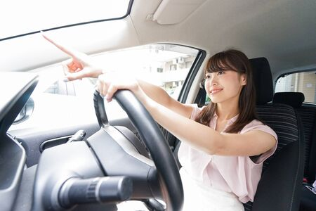 Young driver pointing something Stock Photo