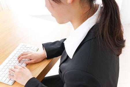 business woman falling asleep