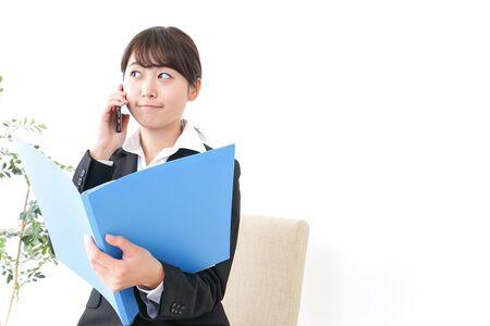 mujer de negocios, informar, jefe