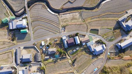 aerial photography of country view 写真素材