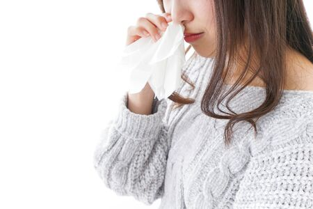 Woman getting a bloody nose