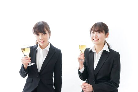 Young businesswomen in drinking parties Stock Photo